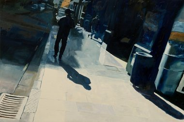 Matthew Carter, High St, oil on board, 400 x 610 mm