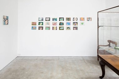Adrienne Vaughan at Anna Miles. On main wall: Untitled Drawings, 2015-2016, each 145 x 208 mm unframed.