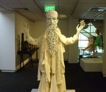 Andrea du Chatenier, Bearded Prophet, ceramic and textile.