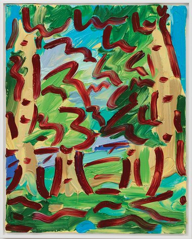 Kirstin Carlin, Through the Trees (One), 2016, oil on board, 380 x 300mm.  Courtesy of the artist and Melanie Roger Gallery