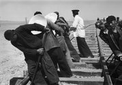 Tom Hutchins, Laying railway tracks Gobi Desert, Kansu China, 1956 (LIFE). Copyright Tom Hutchins Images Ltd