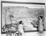 From left, Grace Rawson, Lorraine Sutton and Nola Mann working on a mural in Gore.