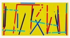 Imi Knoebel, Fishing Yellow 1, 2007/2009, handcoloured acrylic on paper, 60 x 119.5 cm