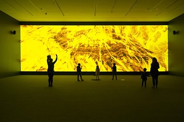 David Haines and Joyce Hinterding, Geology 2015. Installation view, Energies: Haines & Hinterding, Museum of Contemporary Art Australia, 2015. Commissioned by the MCA, supported by Christchurch Art Gallery Te Puna o Waiwhetu. Photo: C. Snee