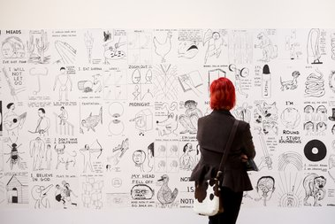 David Shrigley, Drawings (gallery view), 2004-2014 at CoCA, Christchurch, New Zealand, March 2017 © David Shrigley, Courtesy CoCA and British Council. Photo by Janneth Gil