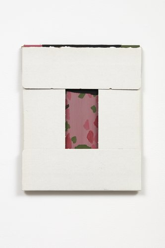 Fergus Feehily, garden Lux, 2010, carboard box, oil and cloth on mdf, 285 x 235 mm. Photo: Sam Hartnett