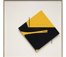Don Peebles, Relief construction: yellow and black, 1966. Painted wood on panel. Collection of Auckland Art Gallery Toi o Tāmaki, purchased 1966