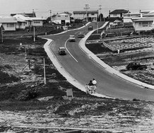 Marti Friedlander, Subdivision 1966, 2000. Gelatin silver prints, toned with gold, 479x479mm. Auckland Art Gallery Toi o Tāmaki, gift of Marti Friedlander, with assistance from the Elise Mourant Bequest, 2001.