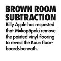 Billy Apple's Brown Room Subtraction as installed at Mokopōpaki. Detail.