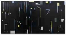 Tony de Lautour, Modern Letters 6, 2017, oil & acrylic on canvas, 1520 x 3030 mm, courtesy of the artist and Nadene Milne Gallery