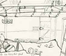 Michael Stevenson, Inside the keep Out Shed', c.1988, graphite on paper, 112 x 149 mm