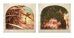 Tracey Moffatt, Plantation (Diptych No. 6), 2009, 2 digital prints with archival pigments, InkAid, watercolour paint and archival glue on handmade Chautara Lokta paper,  2 photographs: each 40.0 x 50.0 cm sheet