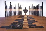 Ralph Hotere, Black Phoenix, installation, 1984-88, photograph from Te Papa website.