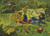 Jacqueline Fahey, Luncheon on the Grass, 1981-82, oil on board, 1210 x 1865 mm, Collection of Louise Chunn, London