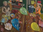 Jacqueline Fahey, The Birthday Party, 1974, oil on board, 905 x 1210 mm, Victoria University of Wellington Art Collection, purchased 1987
