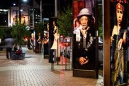 Suzanne Tamaki's 'Native Eye' lightboxes as installed in Courtney Place. Photo: Mark Coote.