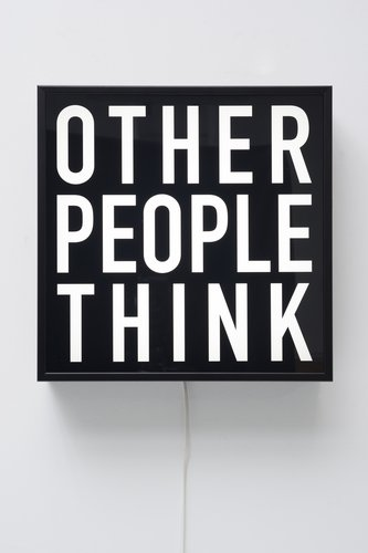 Alfredo Jaar, Other People Think, 2012, light box with black and white transparency. Chartwell Collection, Auckland Art Gallery Toi o Tamaki, purchased 2016