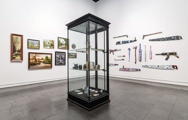 Us v Them: Tony de Lautour, installation view at Christchurch Art Gallery Te Puna o Waiwhetū. Photo: John Collie