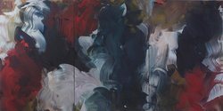 Erin Lawlor: Crow Returned, 2017, oil on linen, 180 x 360 cm (triptych)