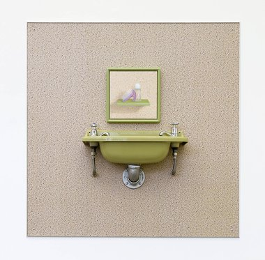 Emily Hartley-Skudder, Tomboy Avocado, 2018, mixed media, including new old stock self-adhesive shelf liner on aluminum composite panel, found sink, oil on linen