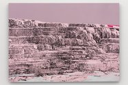 "Whitney Bedford, Pink and White Terraces, 2018, ink and oil on linen on panel, 30"" x 42"""