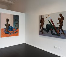 Roger Boyce, Room at {Suite}. Works featured are [left to right] Burden of Dreams and Trophy Case.