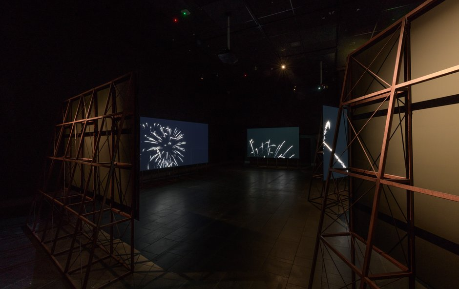 1839127cb10c Installation view of Steve Carr  Chasing the Light 2018. 6-channel video  installation ...