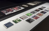 Muslimgauze, assorted CD cases as presented in Iconography of Revolt, City Gallery Wellington, 2018.