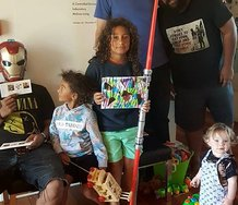Taniela Potelo, Vea Mafile'o's sons Talavou and Malosi, Julian Hooper, Tevita Latu, and Marlowe Hamilton. Photograph by Vea Mafile'o.