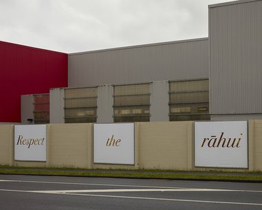 Robyn Maree Pickens, 'Respect the Rāhui' as installed as Te Tuhi Billboards. Photo: Sam Hartnett