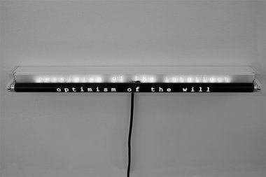 Deborah Rundle, Optimism of the Will, 2018, (detail) two fluorescent tubes, battens, vinyl cut text, courtesy of the artist
