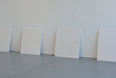 Trent Thompson's 'Hydrocal White' paintings as installed in his 'In Lieu' exhibition at Skinroom gallery