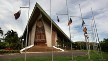 Papua New Guinea's parliament hall, showing some of the details condemned as Satanic. Photo from Keith Jackson's PNG 'Attitude' blog.