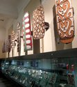 A view of Papuan shields in the museum's Pacific Masterpieces gallery.
