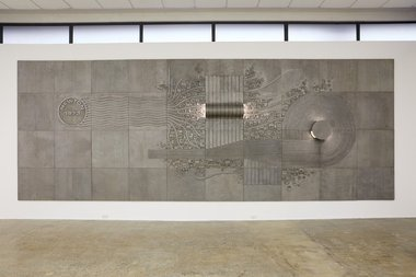 Guy Ngan, Newton Post Office Mural, 1973, aluminium, 2900 x 7250 mm. Courtesy of Auckland Art Gallery. Photo: Sam Hartnett