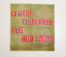 Serene Timoteo, Clothe Your Eyes You Rude Dude, ribbon rossettes on plastic woven mat, text by Selina Tusitala-Marsh. Photo: Mark Hamilton