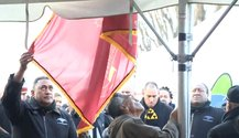 The flag of the Kingitanga is raised at Ihumatao. From the website of Te Ao Maori News.