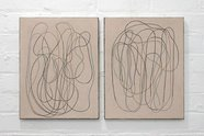 Campbell Patteson. diary (front/back) I, 2018, oil on canvas, diptych; 450 x 350 mm each