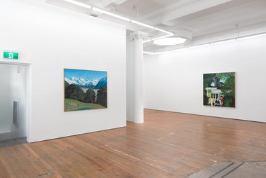Installation of Ian Scott's 'Realist paintings from the late 1960s' at Michael Lett.