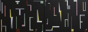 Tony de Lautour, Long Inventory, 2019, acrylic on canvas, 2000 x 750 mm (diptych)