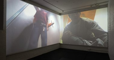 Installation of Campbell Patterson's 'Tight Jeans' digital videos: one 2018, the other 2007; one 51'57'', the other 46'09''.