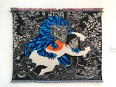 Paul McLachlan, Blue Lion, 2018, wall hanging:rubber, mohair, merino, linen, acrylic  and polyester yarns. 1600 x 2170 x 50 mm. Jury Award Winner.