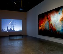 Haines & Hinterding, Encounter with the Halo Field, 2009–15, single-channel video, sound, duration 3 min 38 sec. Collection of Christchurch Art Gallery Te Puna o Waiwhetū; Hannah Beehre, Orion, 2018, Swarovski® crystals, dye and acrylic on silk velvet.