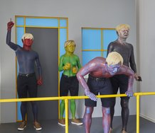 Ronnie van Hout, Ghosting, 2020,  painted MDF and pvc pipe, painted cast rigid urethane resin, expanded urethane foam, CNC expanded polystyrene, urethane spray, clothing, wigs, glass eyes,  3000 x 3000 x 3000 mm