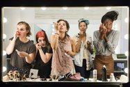 Lauren Greenfield, High school seniors (L to R) lilli, 17, Nicole, 18, Lauren, 18, Luna, 18 and Sam, 17, put on their makeup in front of a two-way mirror for the author's Beauty CULTure documentary, Los Angeles, 2011