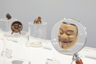 Installation of Contemporary Wood-Carved Netsuke at Te Uru. Toured by The Japan Foundation. Photo by Sam Hartnett
