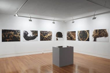 (UN)Registered Savages of Aotearoa, Hair to Stay, 2019, installation view, eight photographs of ulu cavu in British collections. Photo by Sam Hartnett