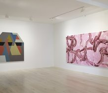 Alberto Garcia-Alvarez,  Centennial, 1972, mixed media on canvas, 1870 x 1870 mm; Judy Millar, Three Parts Pink, 2020,	oil and acrylic on canvas, 1800 x 3800 mm overall. Photo: Sam Hartnett