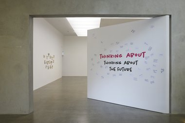 Installation of Thinking about Thinking about the Future at Te Uru. Photo: Sam Hartnett.