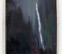 Tyne Gordon, Crag, 2020, oil on aluminium, pewter frame, 278 mm x 230 mm x 18 mm. Image courtesy of Weasel Gallery, photo by Mark Hamilton